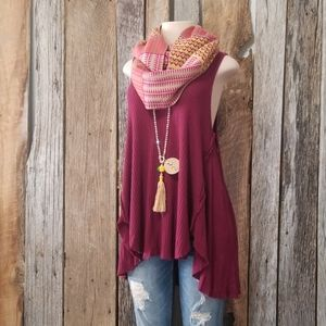 FREE PEOPLE SQUARE RIBBED KNIT FLOWY HIGH LOW TOP!